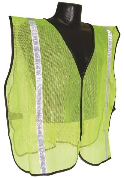Radwear SV Non-Rated Safety Vest, Small/X- Large, 100% Polyester Mesh, Hi-Viz Green