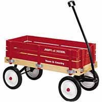 Radio Flyer Model No 24 Toy Wagon 36 in L x 16-1/2 in W x 9-1/2 in D, Wood, Red