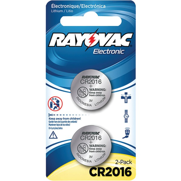 RAYOVAC KECR2016-2A 3-Volt Lithium Keyless Entry Battery (2 pk; CR2016 Size)
