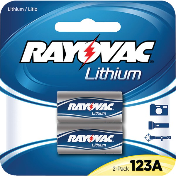 RAYOVAC RL123A-2A 3-Volt Lithium 123A Photo Batteries (2 pk)