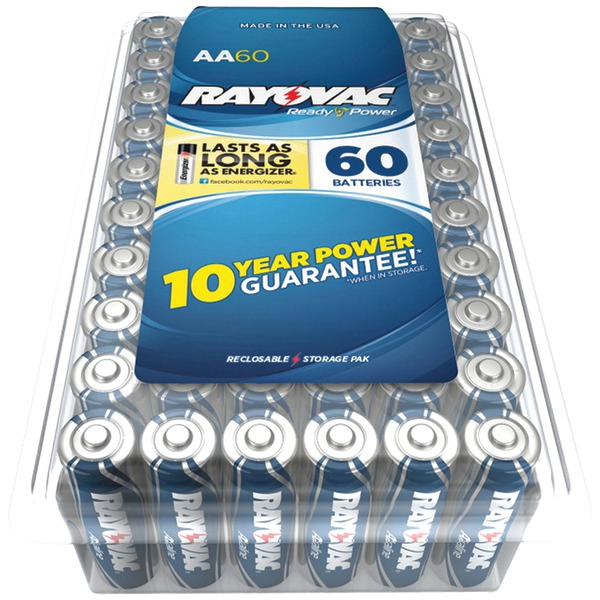 RAYOVAC 815-60PPJ Alkaline Batteries Reclosable Pro Pack (AA, 60 pk)
