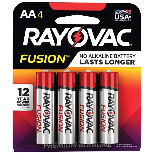 RAYOVAC 815-4TFUSK FUSION Advanced Alkaline AA Batteries, 4 pk