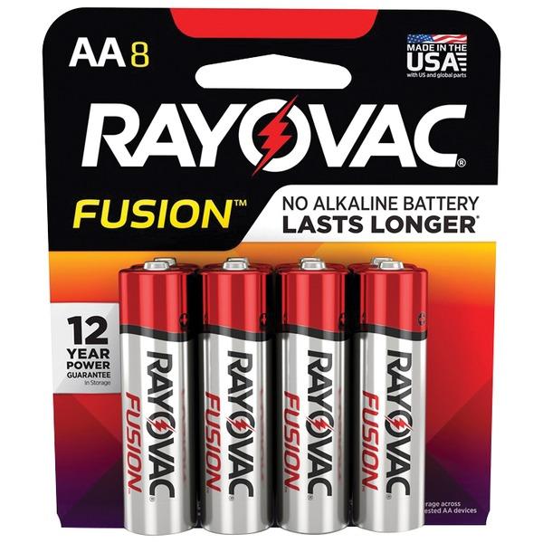 RAYOVAC 815-8TFUSK FUSION Advanced Alkaline AA Batteries, 8 pk