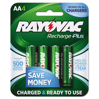 Recharge Plus NiMH Batteries, AA, 4/Pack