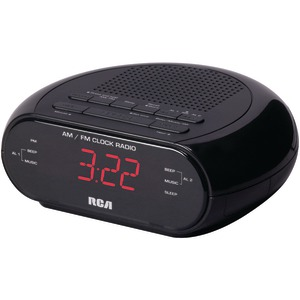 RCA RC205 Dual Alarm Clock Radio with Red LED & Dual Wake