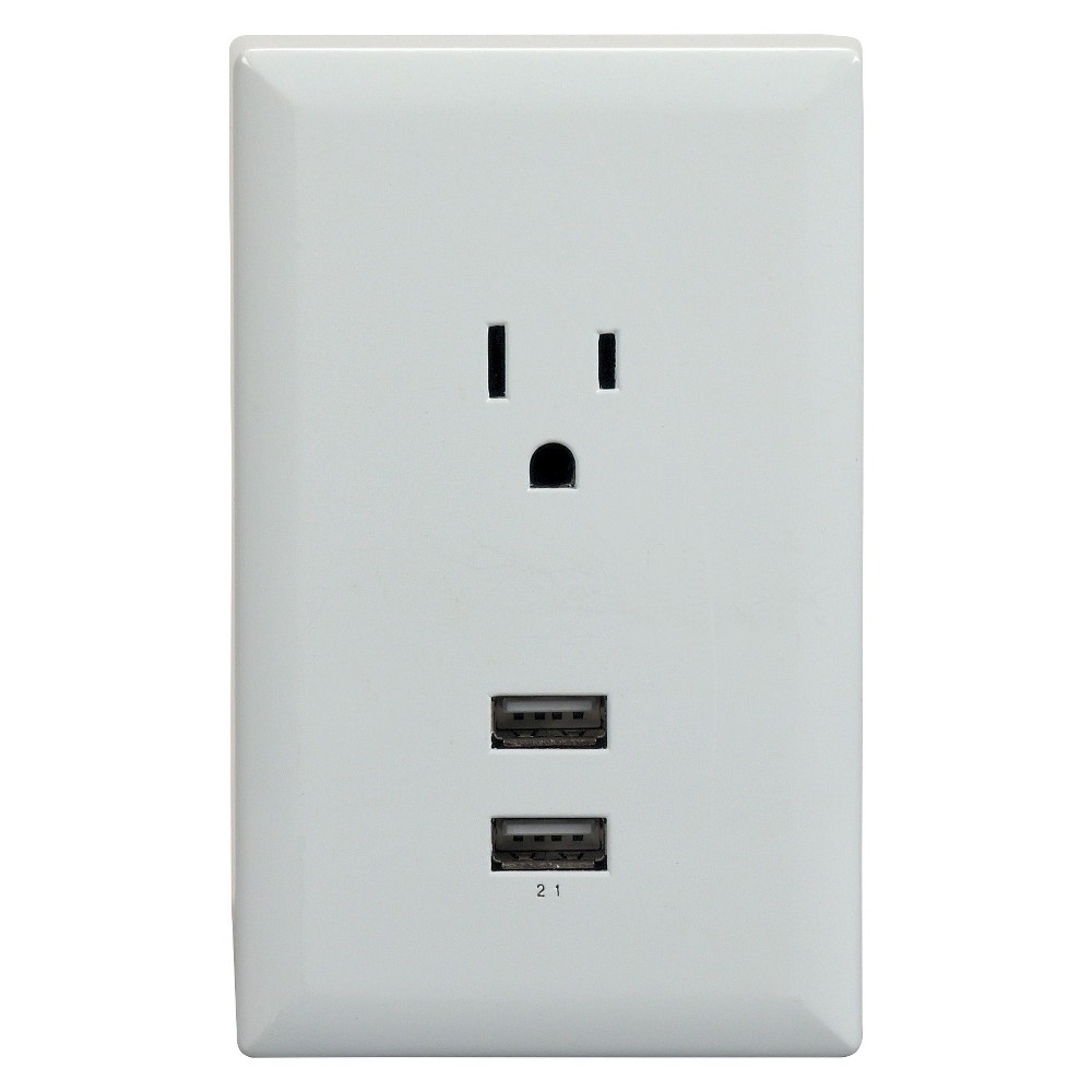 RCA USB Wall Plate Charger, White