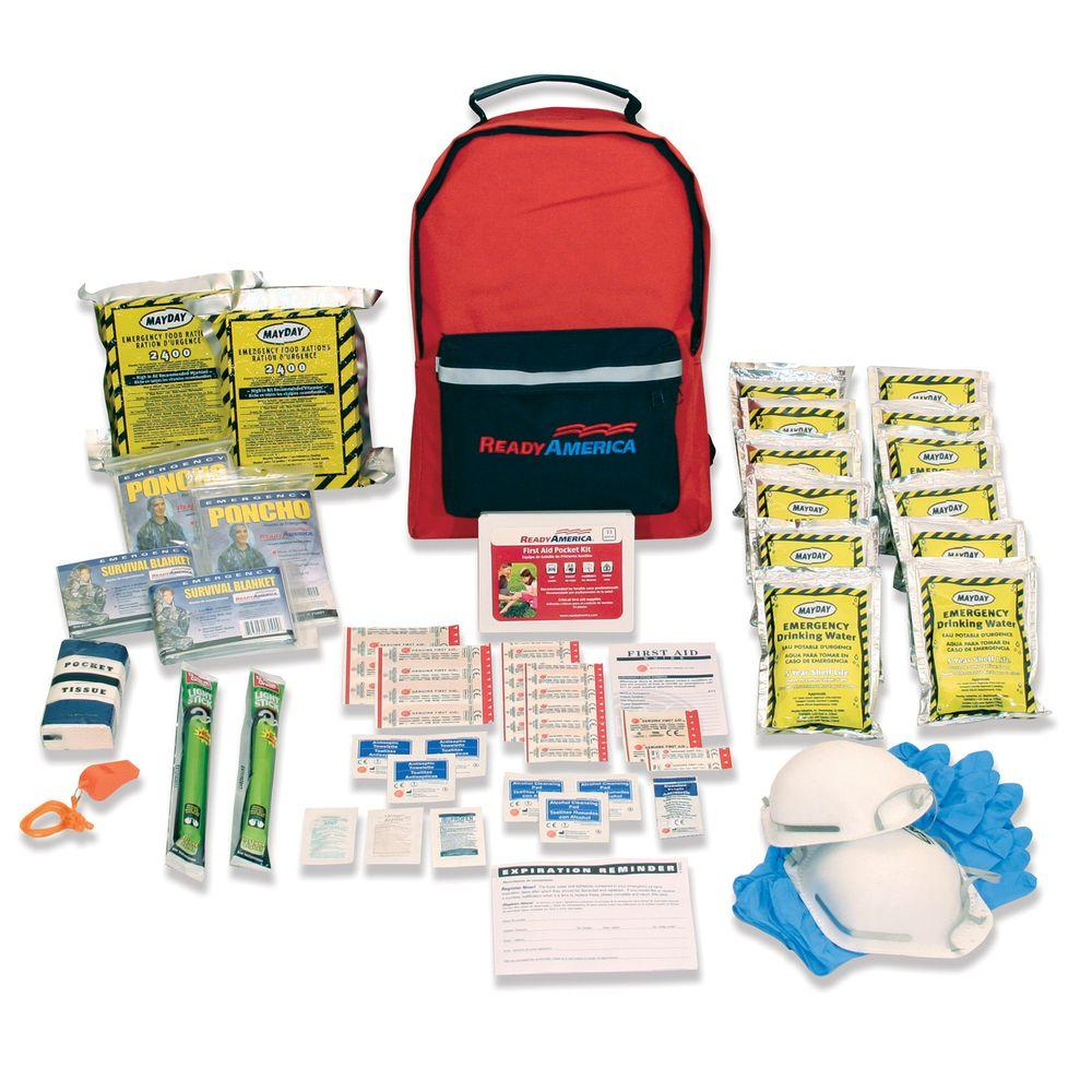 Ready America Grab 'n Go 2 Person 3 Day Emergency Kit, 30 Pieces, Red