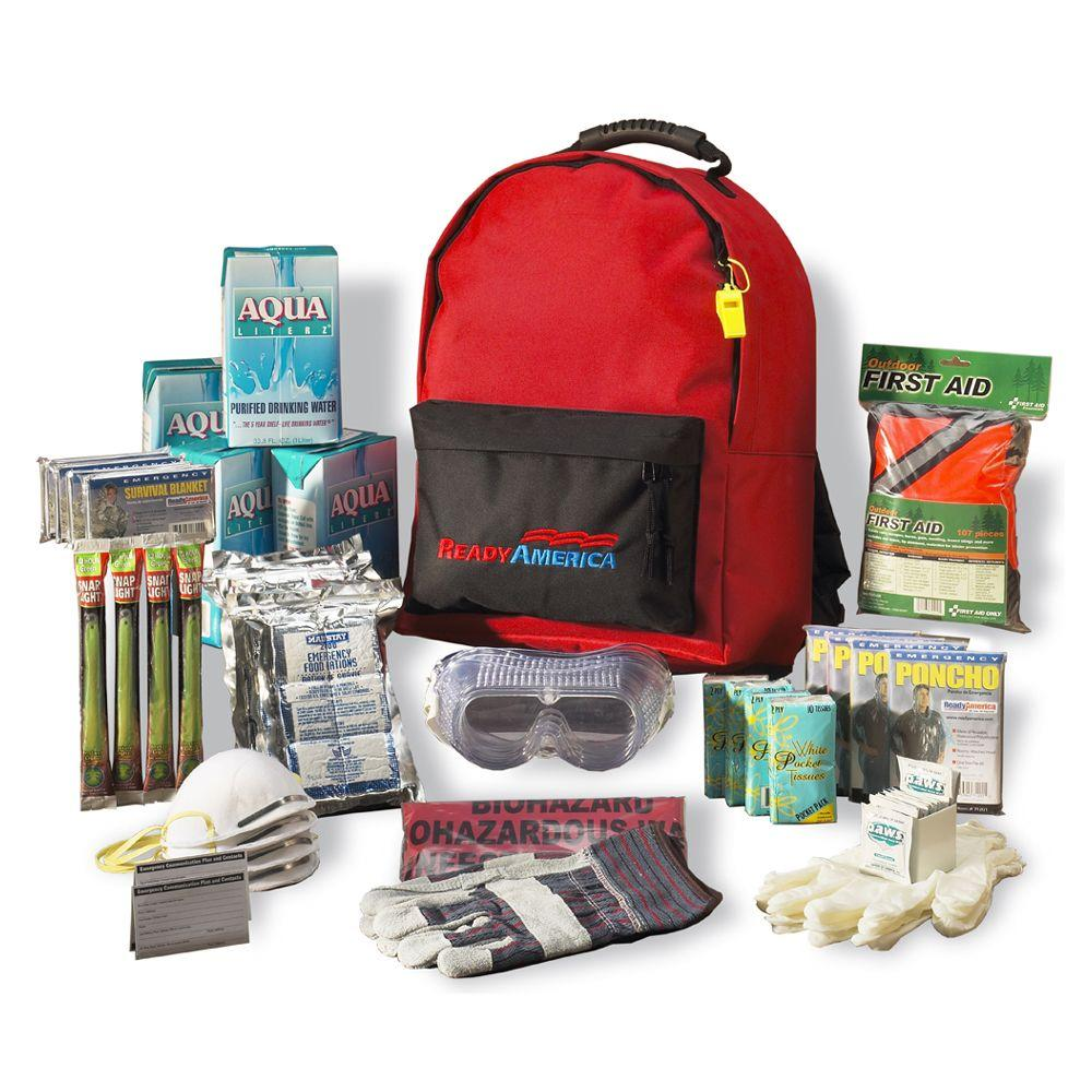 Ready America Grab 'n Go 4 Person 3 Day Emergency Kit, 59 Pieces, Red