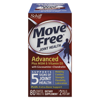 Move Free Advanced Plus MSM & Vitamin D3 Joint Health Tablet, 80 Count, 12/Ctn
