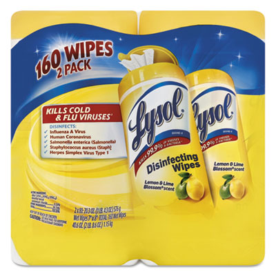 Disinfecting Wipes, Lemon/Lime Blossom, 7 x 8, 80/Canister, 2/Pack, 3 Pk/Ctn