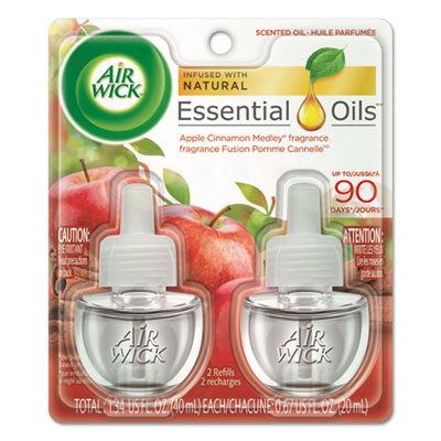 Scented Oil Refill, Warming - Apple Cinnamon Medley, 0.67 oz, Orange, 2/Pack