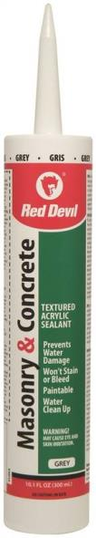 Red Devil 0120CA Concrete and Mortar Repair Sealant, 10.1 oz, Cartridge, Textured Gray, Mild Acrylic, Paste