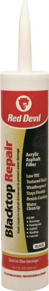 Red Devil 0637 Blacktop Repair Sealant, 10.1 oz, Cartridge, Black, Paste