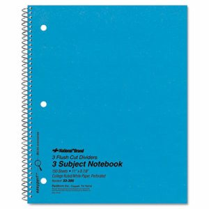 3 Subject Wirebound Notebook, College Rule, 11 x 8 7/8, White, 150 Sheets