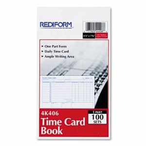 Employee Time Card, Daily, Two-Sided, 4-1/4 x 7, 100/Pad