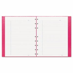 NotePro Notebook, 9 1/4 x 7 1/4, White Paper, Bright Pink Cover, 75 Ruled Sheets