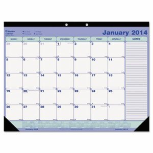Academic Desk Pad Calendar, 21 1/4 x 16, White/Blue/Green, 2016-2017