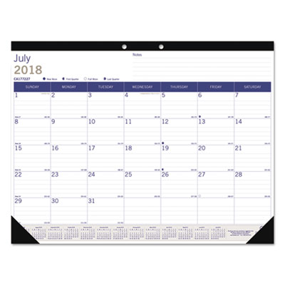 Academic Desk Pad Calendar, 22 x 17, White/Blue/Gray, 2018-2019