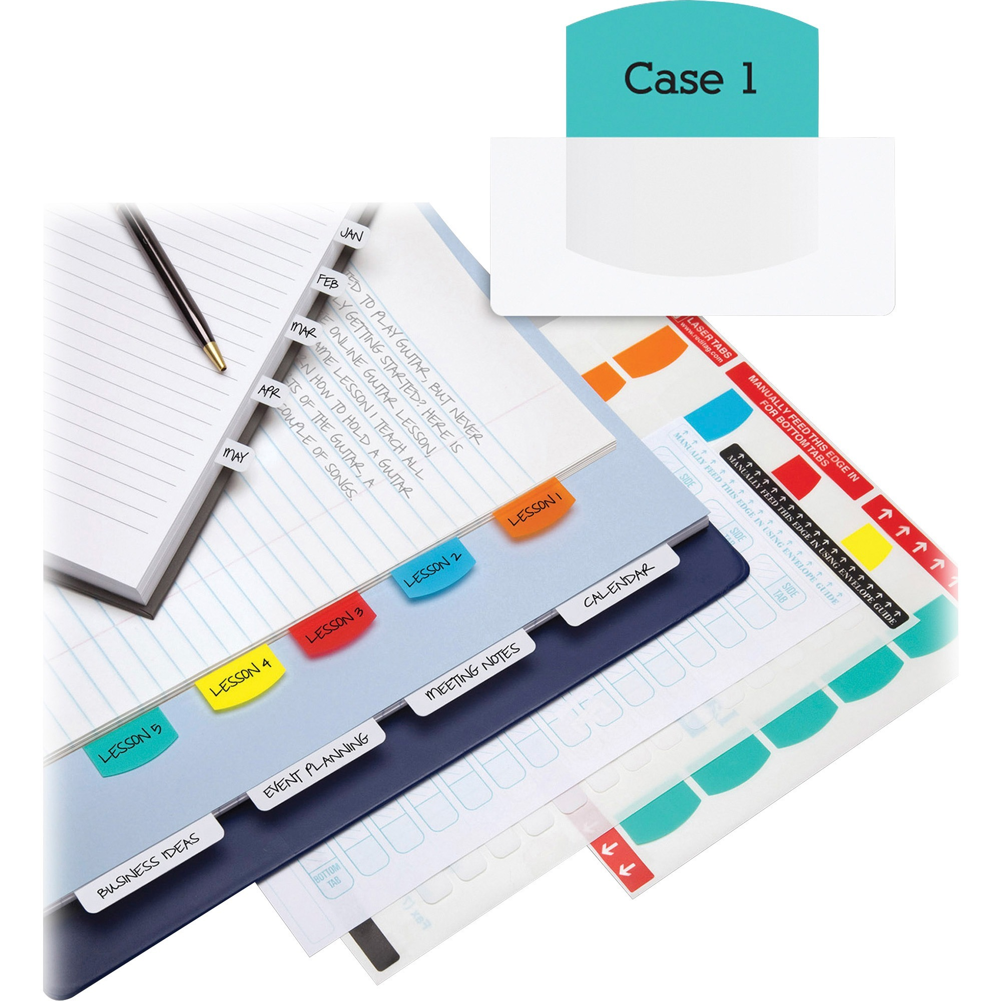 Laser Printable Index Tabs, 1 1/8 x 1 1/4, 5 Colors, 375/Pack