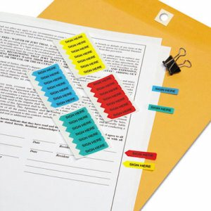 "Mini Arrow Page Flags, ""Sign Here"", Blue/Mint/Red/Yellow, 126 Flags/Pack"