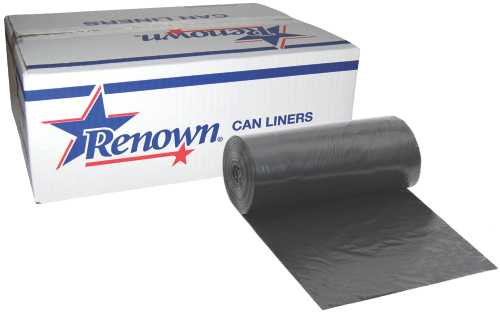 RENOWN� TRASH CAN LINERS, BLACK, 25 GALLONS, 0.5MIL, 30X36 IN., 25 LINERS PER ROLL