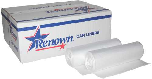 RENOWN CAN LINER TRASH BAGS 33X39 33 GAL. .95MIL NATURAL 25 PER ROLL