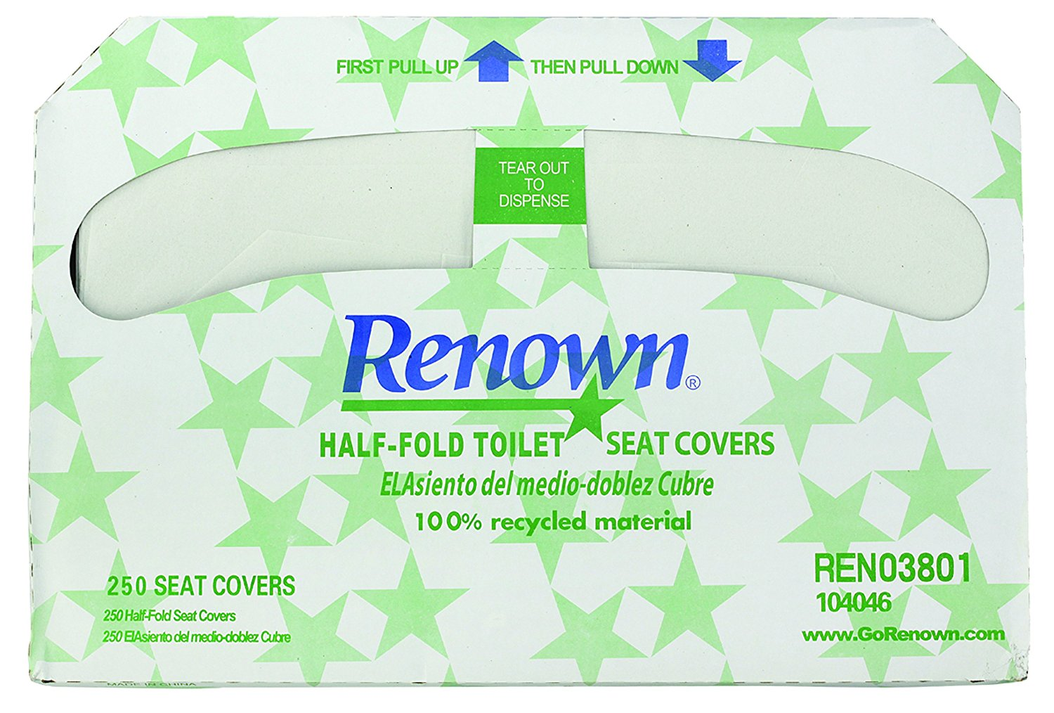 RENOWN� HALF-FOLD TOILET SEAT COVERS, EPA-APPROVED, 250 COVERS PER BOX