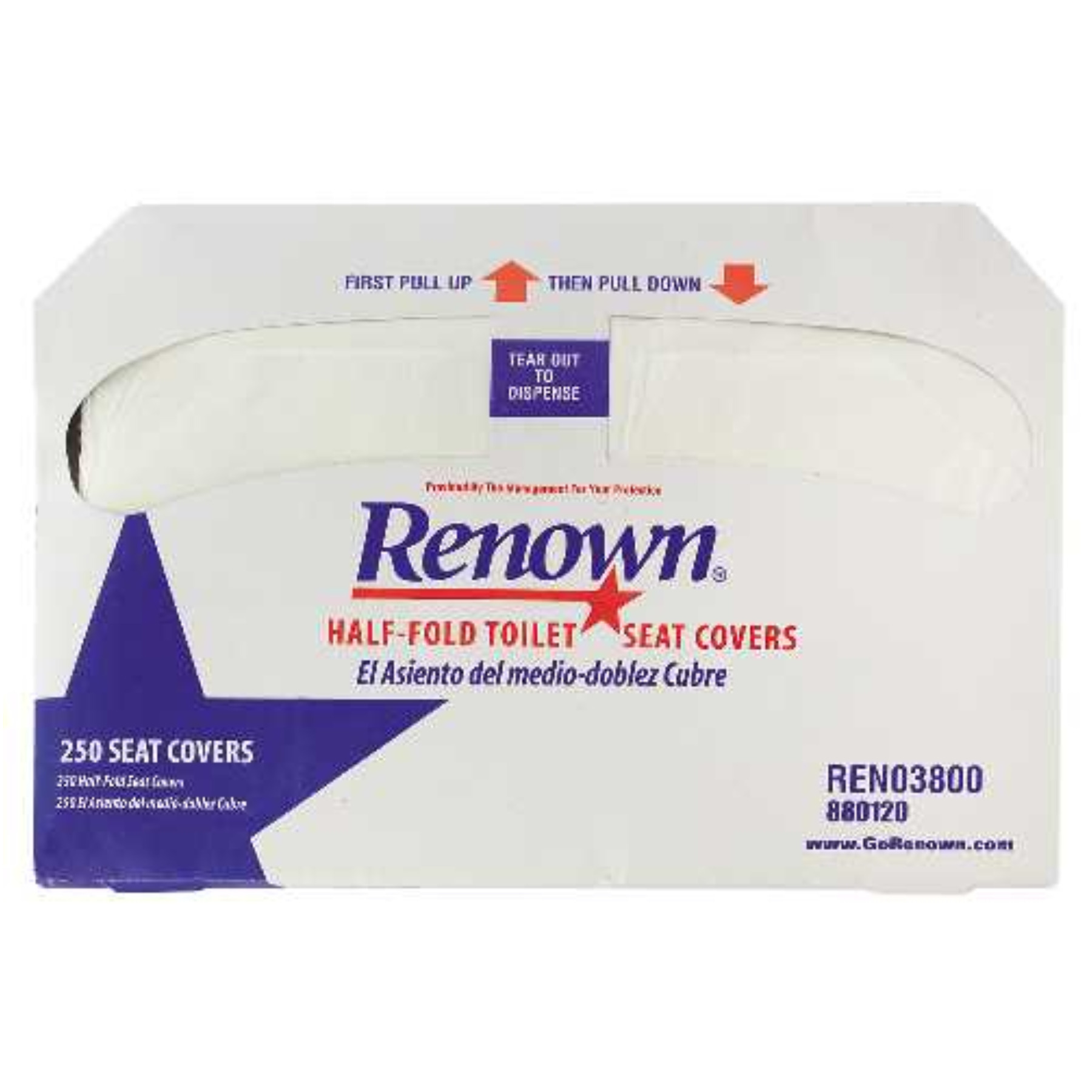 RENOWN� HALF-FOLD TOILET SEAT COVERS, 250 SHEETS PER PACK, 20 PACKS PER CASE