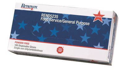 RENOWN� AMBIDEXTROUS DISPOSABLE POWDERED GENERAL PURPOSE LATEX GLOVES, NATURAL, SMALL