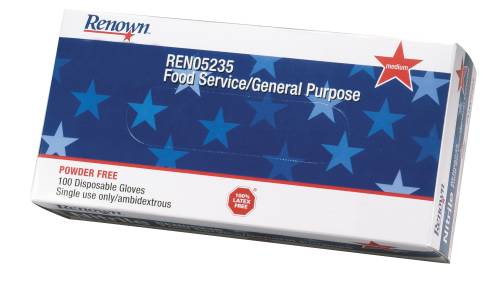 RENOWN� POWDERED GENERAL PURPOSE LATEX GLOVES, MEDIUM, 5 MIL, 100 GLOVES PER BOX