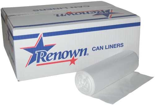 RENOWN� TRASH CAN LINERS, NATURAL, 15 GALLONS, 8 MIC, 24 IN. X 33 IN., 50 LINERS PER ROLL