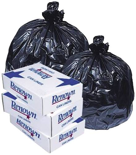 RENOWN� TRASH CAN LINERS, BLACK, 60 GALLONS, 1.7MIL, 38X58, 10 LINERS PER ROLL