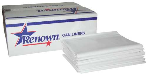 RENOWN CAN LINER TRASH BAGS 40X50 45 GAL. 2.4MIL WHITE  FLAT PACK