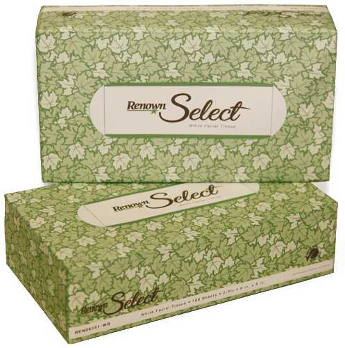 RENOWN� GREEN SEAL�-CERTIFIED FACIAL TISSUES, 2-PLY, 8 IN. X 8 IN., 160 TISSUES PER BOX