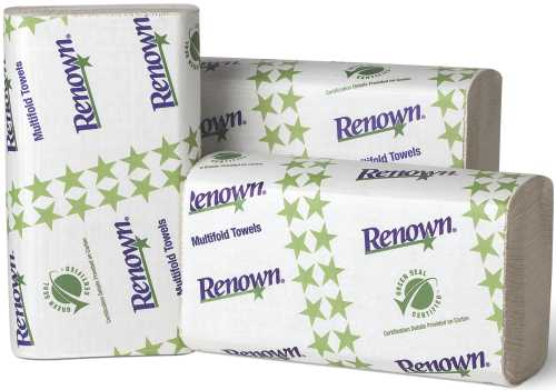 RENOWN� MULTIFOLD PAPER TOWELS, WHITE, 9-1/8X9-1/2 IN., 16 250-COUNT PACKS PER CASE