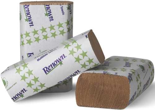 RENOWN� MULTIFOLD PAPER TOWELS, NATURAL, 9-1/8X9-1/2 IN., 16 250-COUNT PACKS PER CASE