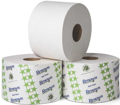 RENOWN SINGLE ROLL BATH TISSUE 2PLY 3-3/4X4 3 3/4X4