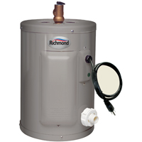 Richmond 6EP2-1 Electric Water Heater, 2000 W, 120 VAC, 2.5 gal Tank, Stainless Steel