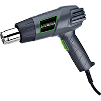 Genesis GHG1500A Dual-Temperature Heat Gun With Accessories, 120 V, 12.5 A, 60 Hz, 750 - 1500 W, 572/1000 deg F