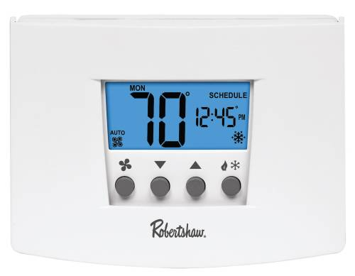 ROBERTSHAW� RS5220 5+2-DAY PROGRAMMABLE THERMOSTAT, 2 HEAT/2 COOL, 24-VOLT AC WITH BATTERY BACKUP OR 3-VOLT DC