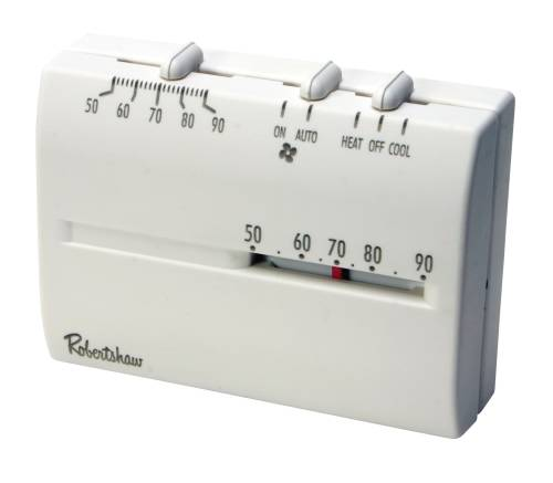 ROBERTSHAW� DELUXE MECHANICAL THERMOSTAT, 24 VOLTS, 1 HEAT/1 COOL