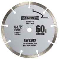 Rockwell RW9283 Compact Circular Saw Blade, 4-1/2 in Dia, 60 Teeth, 3/8 in Arbor