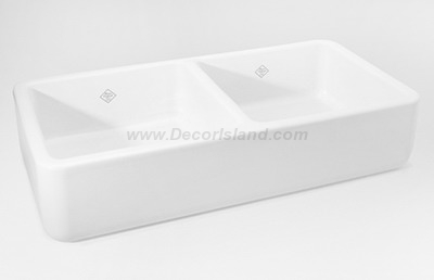 36 X 18 0 Hole Double Bowl Fireclay Apron Sink *shaw White
