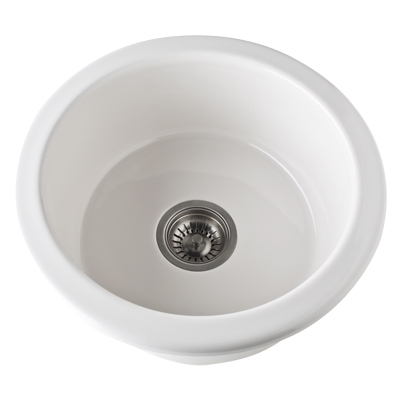18 0 Hole Round Fireclay Sink *ALLIA Biscuit