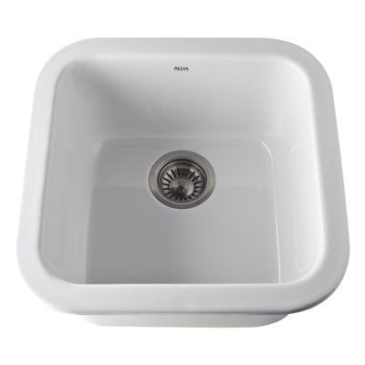 17 X 17 0 Hole Single Band Fireclay SINK *ALLIA White