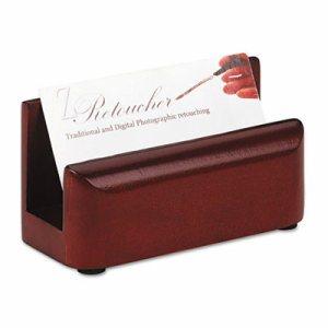 Wood Tones Business Card Holder, Capacity 50 2 1/4 x 4 Cards, Mahogany