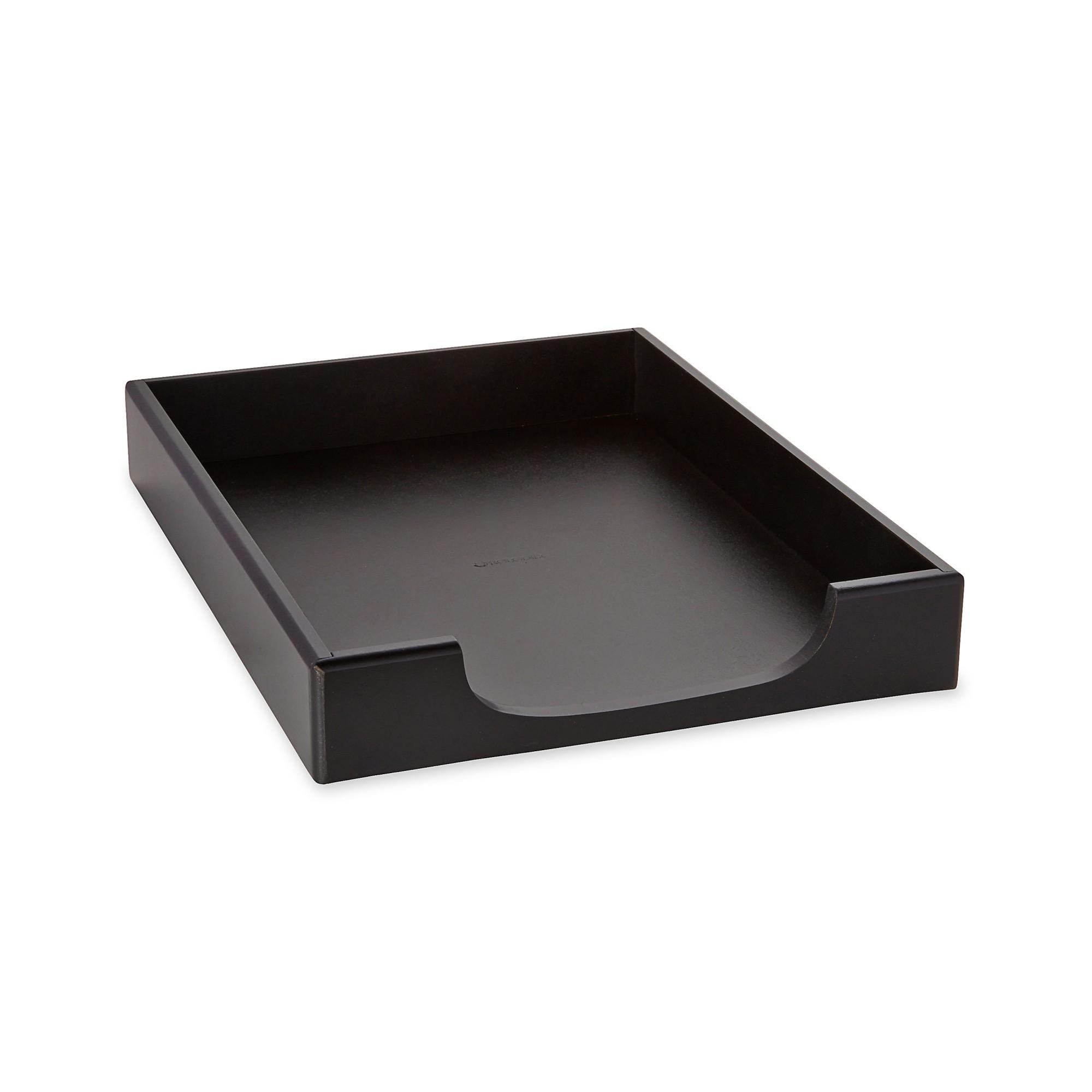 Wood Tones Letter Desk Tray, Wood, Black