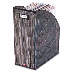 Nestable Rolled Mesh Steel Jumbo Magazine File, 6 1/2 x 10 x 12 1/2, Black