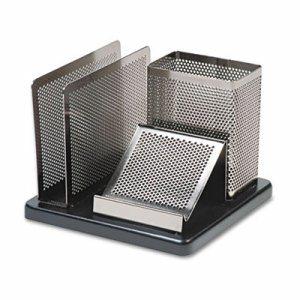 Distinctions Desk Organizer, 5 7/8 x 5 7/8 x 4 1/2, Metal/Black