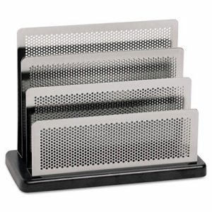 Mini Sorter, Three Stepped Sections, 7 1/2 x 3 1/2 x 5 3/4, Metal/Black
